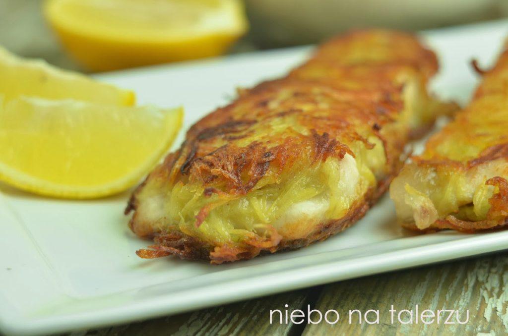 Ryba wpanierce ztartych ziemniaków