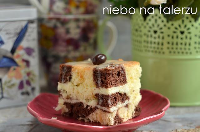 łaciate ciasto sernikowo kakaowe