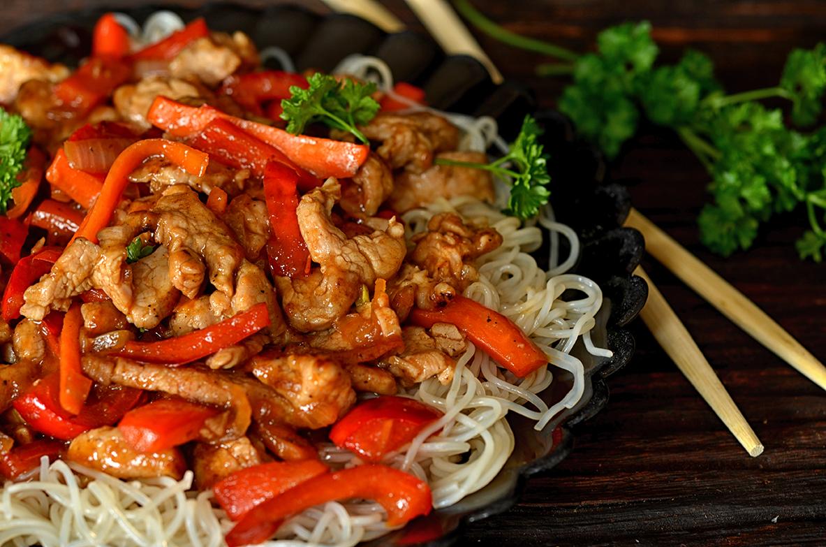 obiad, wieprzowina, polędwiczki , chińszczyzna