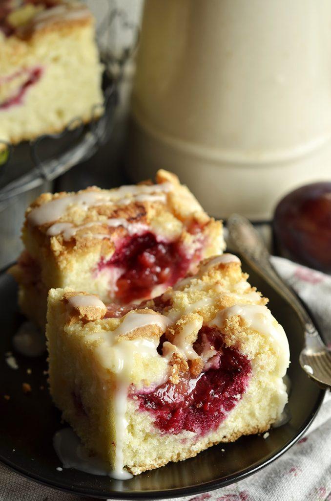 puszyste ciasto ześliwkami